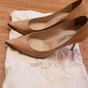 Jimmy Choo Nude Patent Leather Pump